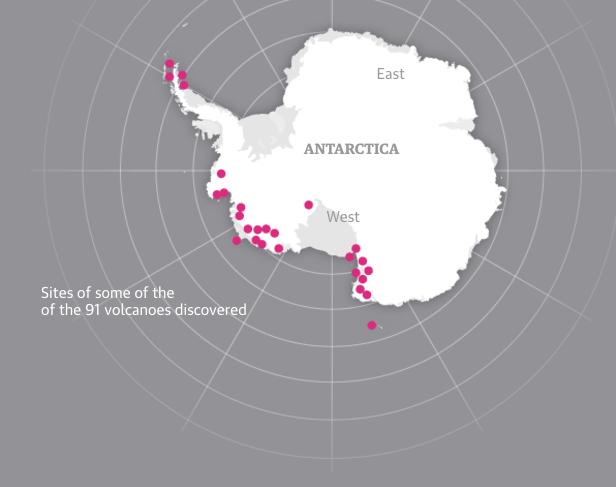 Подо льдом Антарктиды нашли 91 вулкан