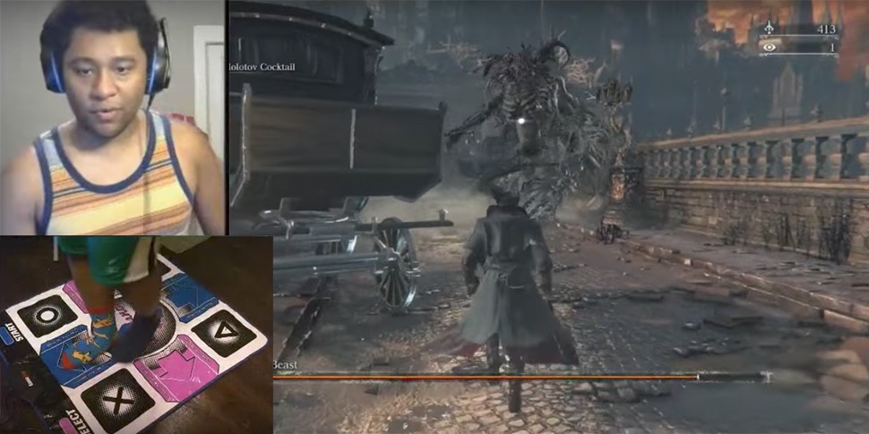 Геймер убил босса в Bloodborne с помощью танцевального коврика