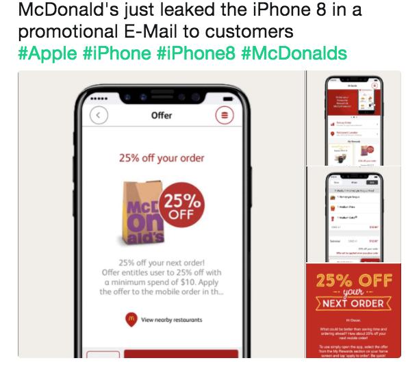 iPhone 8 в рекламном ролике McDonald's