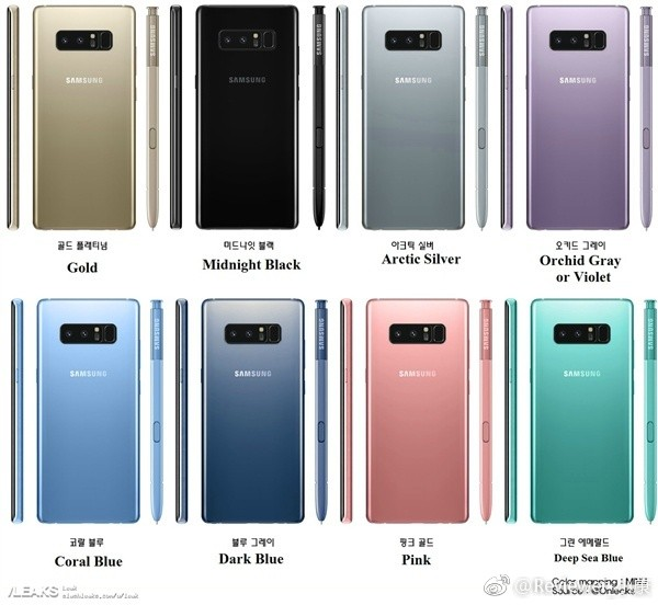 Samsung Galaxy Note 8 выйдет в восьми цветах?