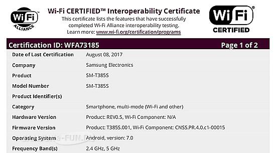 Новое устройство Samsung SM-T385S прошло сертификацию Wi-Fi