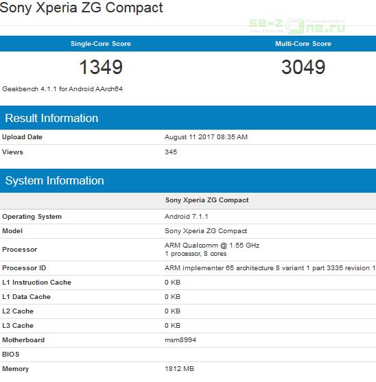 В Geekbench протестирован Xperia ZG Compact