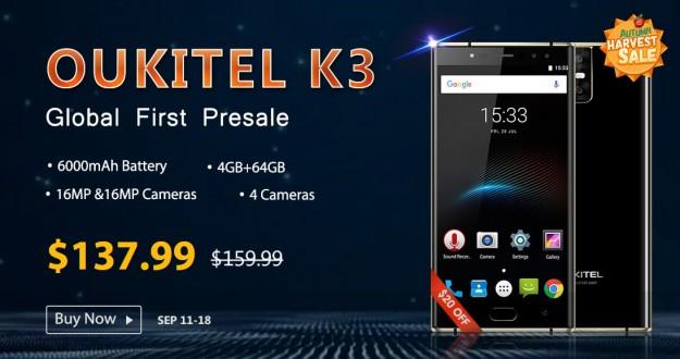 Товар дня: OUKITEL K3 - $137.99, Vernee M5 - $119.99 и Cubot X18 – от $59.99