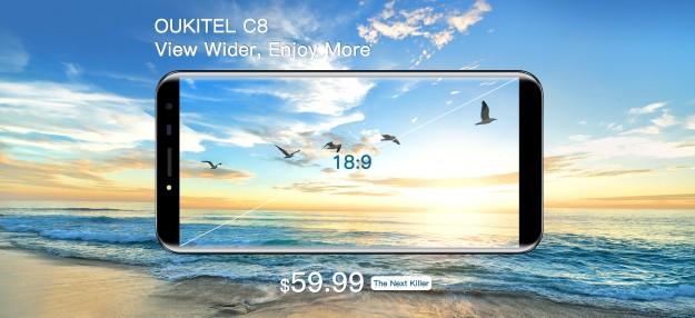 OUKITEL Mix 2 и OUKITEL C8 будут представлены с безрамочными дисплеями