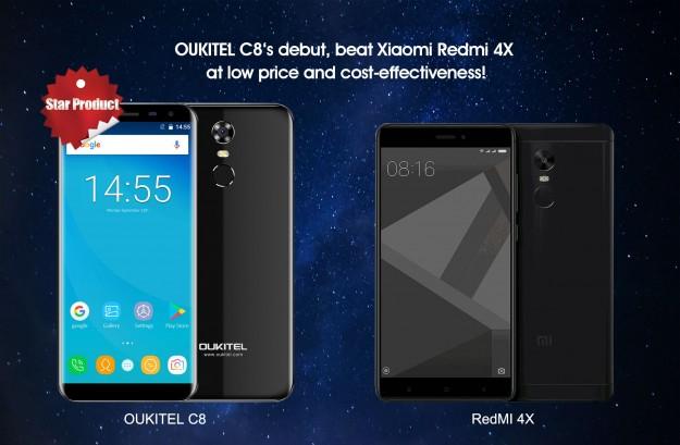 Новый OUKITEL C8 обходит по характеристикам популярный Xiaomi Redmi 4X