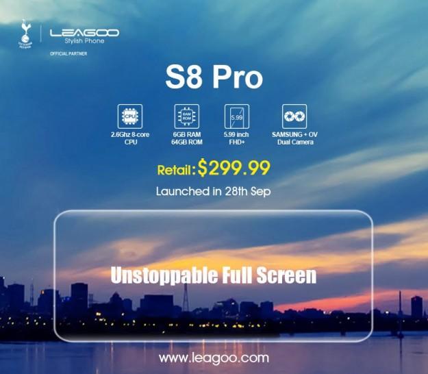 LEAGOO S8 Pro  с безрамочным дисплеем 5.99 дюймов 18:9 получит 6 ГБ оперативной памяти и разрешение 2160x1080p