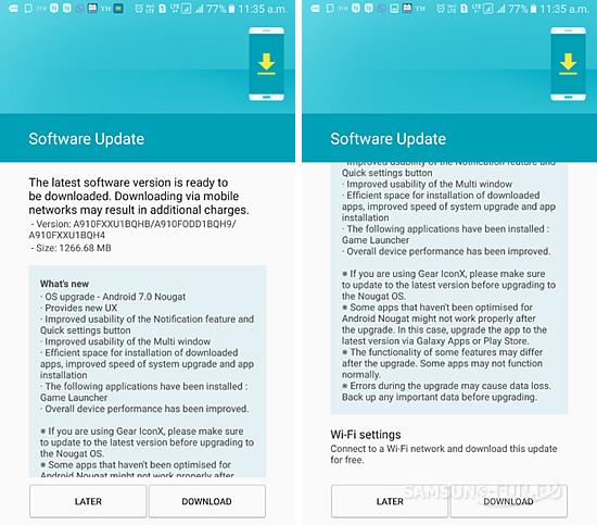 Смартфон Samsung Galaxy A9 Pro начал получать ОС Android  7.0 Nougat