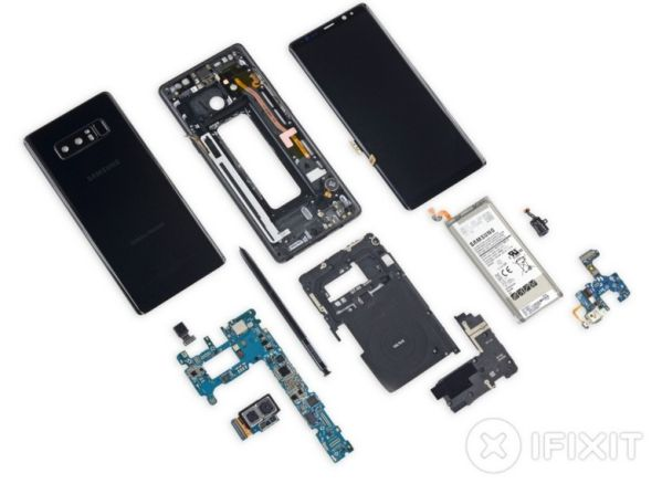 Смартфон Samsung Galaxy Note8 разобран в iFixit