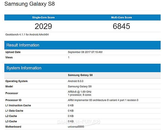 Смартфон Samsung Galaxy S8  с Android 8.0 Oreo прошел тест Geekbench