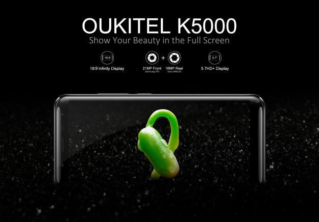 OUKITEL планирует представить модельK5000 с батареей на 5000 мАч и дисплеем 18:9 на 5,7 дюйма