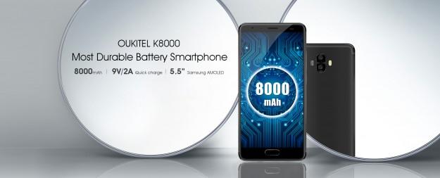 OUKITEL анонсирует модель K8000 с батареей на 8000 мАч и дисплеем AMOLED от Samsung