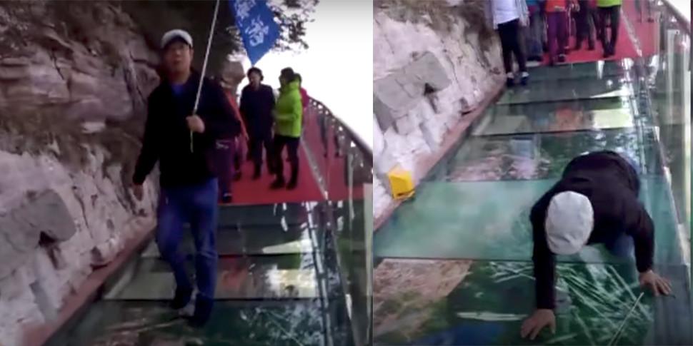 Стеклянному мосту на высоте более километра добавили эффекты потрескивания