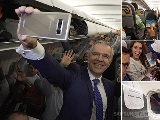 Samsung раздала 200 бесплатных  Galaxy Note 8 на борту самолета испанских авиалиний