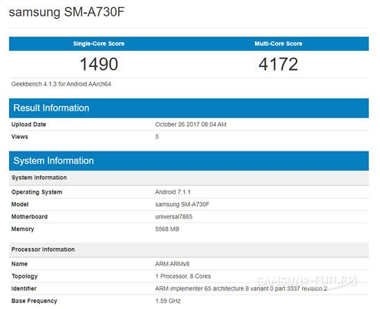 В Сети обнаружились характеристики смартфона Samsung Galaxy A7  (2018)