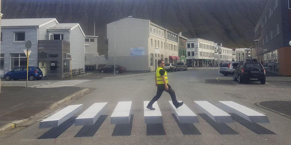 В Исландии нарисовали 3D-«зебру». Где еще можно увидеть такие?