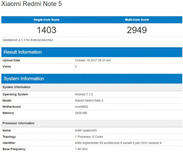 Xiaomi Redmi Note 5 засветился в Geekbench
