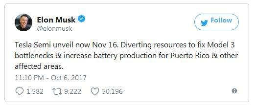 Tesla решила отложить выпуск грузовика