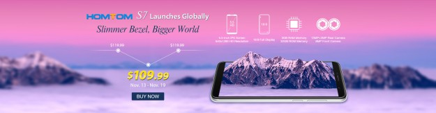 HOMTOM S7 - 4-ядерный с 5.5-дюймовым экраном поступает в предпродажу с 13 ноября по цене 109,99 долларов США