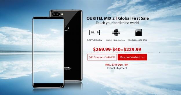 OUKITEL MIX 2 с 6 ГБ ОЗУ и Helio P25 запускается в глобальную продажу