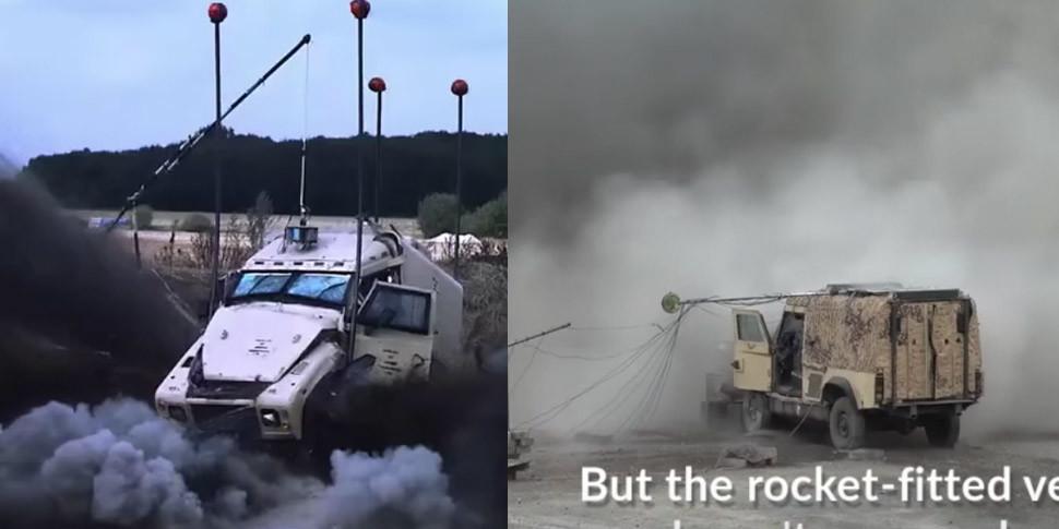 Военные оснастили автомобиль Land Rover ракетными противоминными двигателями