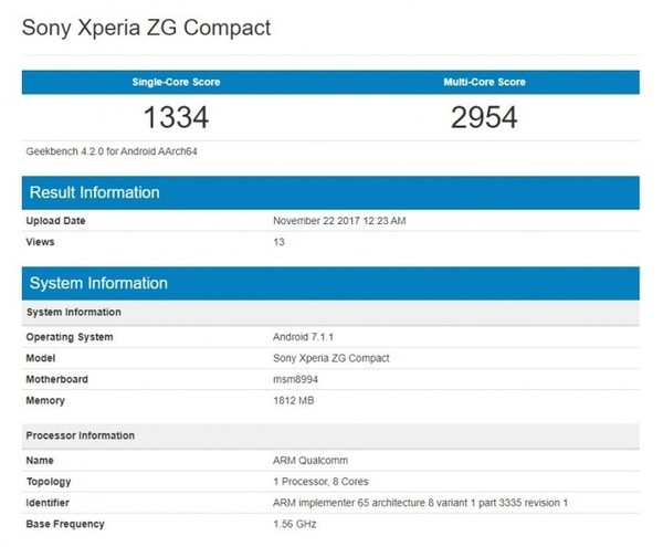 В Geekbench замечен смартфон Sony Xperia ZG Compact