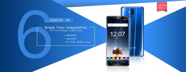 OUKITEL K6 – новинка на процессоре Helio P23 и 6 ГБ оперативной памяти