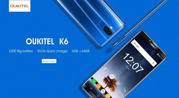 OUKITEL K6 получит батарею на  6300 мАч и зарядное устройство для быстрой подзарядки 5В/3А