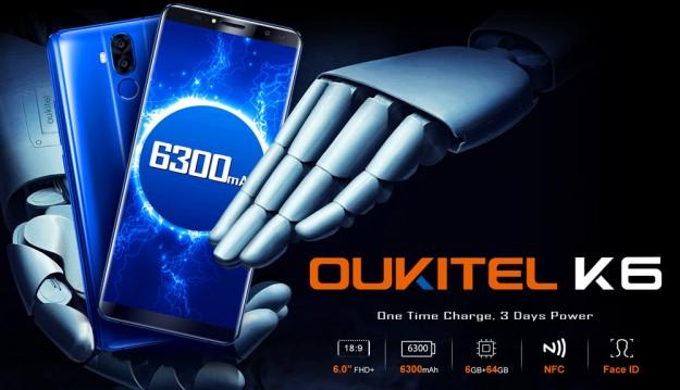 Товар дня: Oukitel K6 со скидкой в  за флагман с 6 ГБ ОЗУ и Face ID