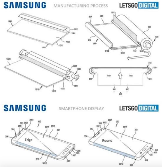 Samsung  патентует смартфон с полностью  изогнутыми краями дисплея
