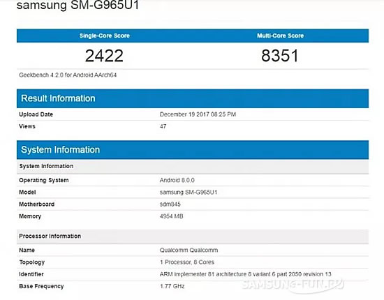 Смартфон Samsung Galaxy S9+ прошел тест Geekbench