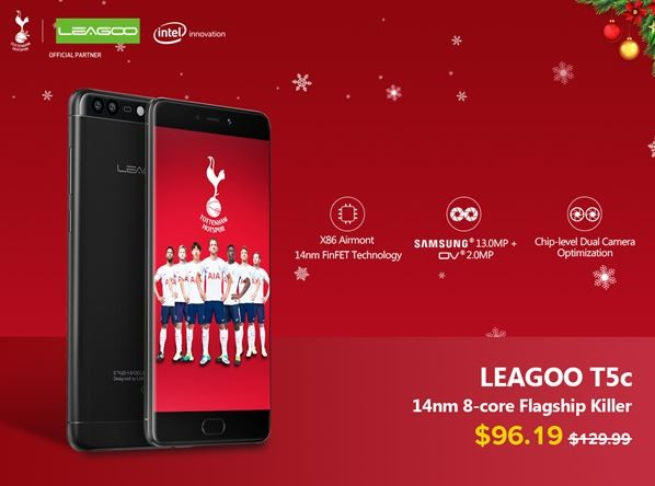 Рождественские скидки на смартфон LEAGOO T5C: экономия до $35