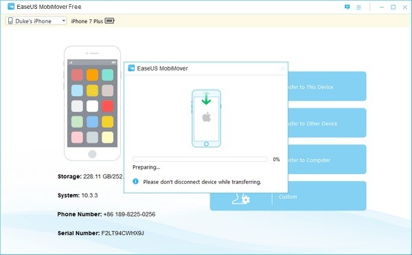 EaseUS MobiMover Free бесплатно синхронизирует файлы на i-устройстве и Windows-компьютере