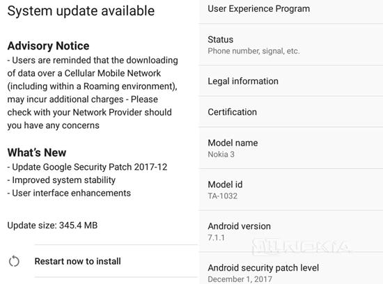 Nokia 3 получает декабрьский патч безопасности