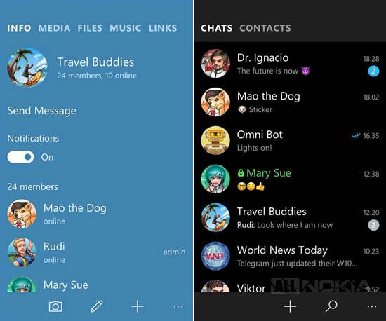 В Telegram для Windows-смартфонов появились новые возможности