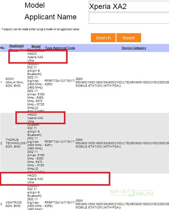Раскрыто: за H4233 скрывается смартфон Sony Xperia XA2 Ultra