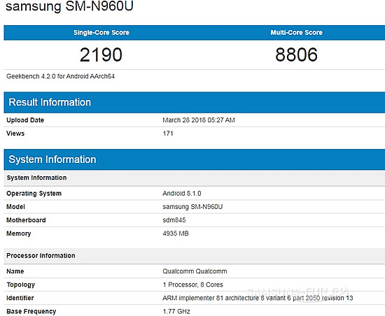 Будущий Samsung Galaxy Note 9 обнаружился в тесте Geekbench