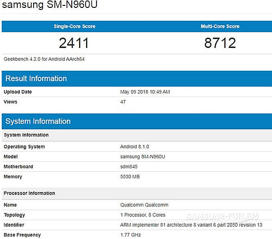 В Geekbench  засветился фаблет Samsung Galaxy Note 9