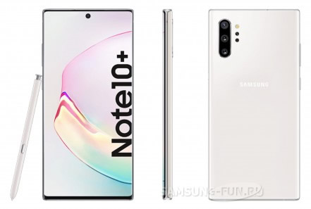 Рендеры Samsung Galaxy Note 10 Plus в цвете Aura White