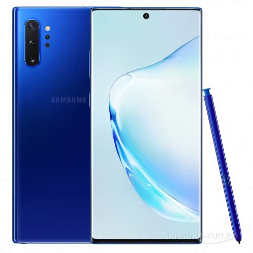 Фото фаблета Samsung Galaxy Note 10 Plus в синем цвете
